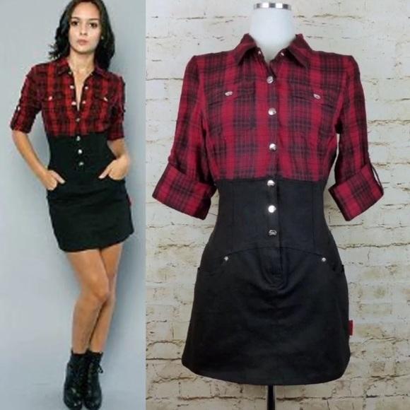 cc1fe04c5b Tripp NYC Shirt Dress Red Plaid Black Back Lace Up